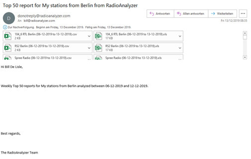 Top 50 reports for station from berlin