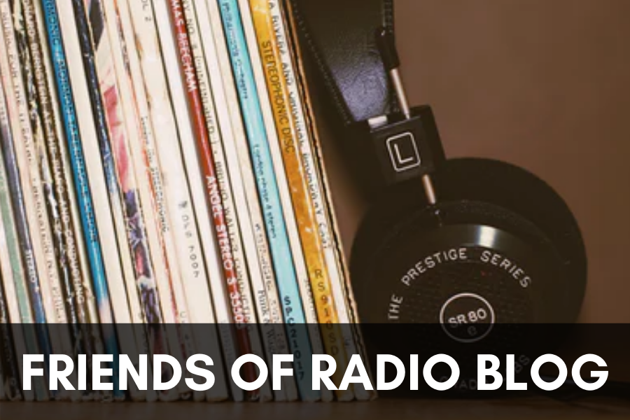 A headphone with Vinyl to show radio and music, with a text friends of radio blog